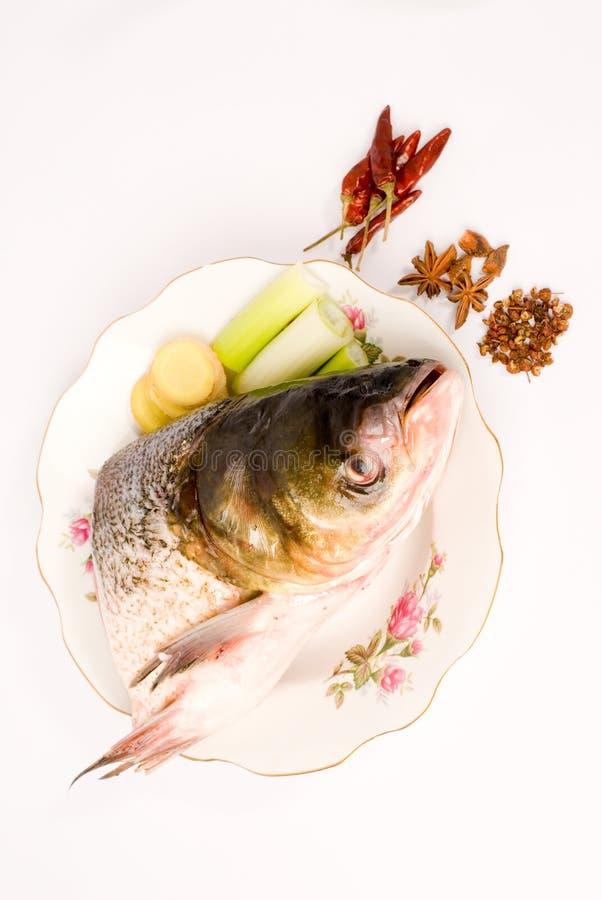Testa cotta a vapore dei pesci, alimento cinese fotografia stock libera da diritti
