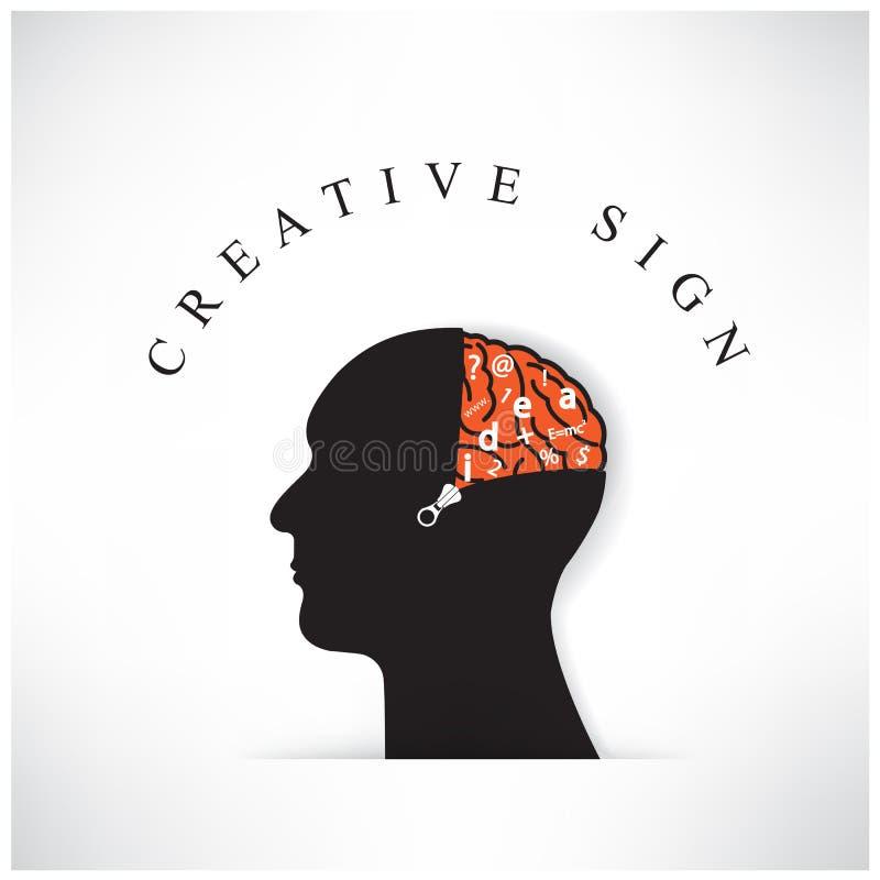 Testa creativa della siluetta con l'apertura del cervello dalla chiusura lampo sul BAC royalty illustrazione gratis