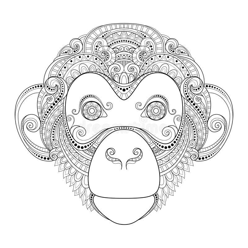 Testa decorata della scimmia di vettore illustrazione di stock