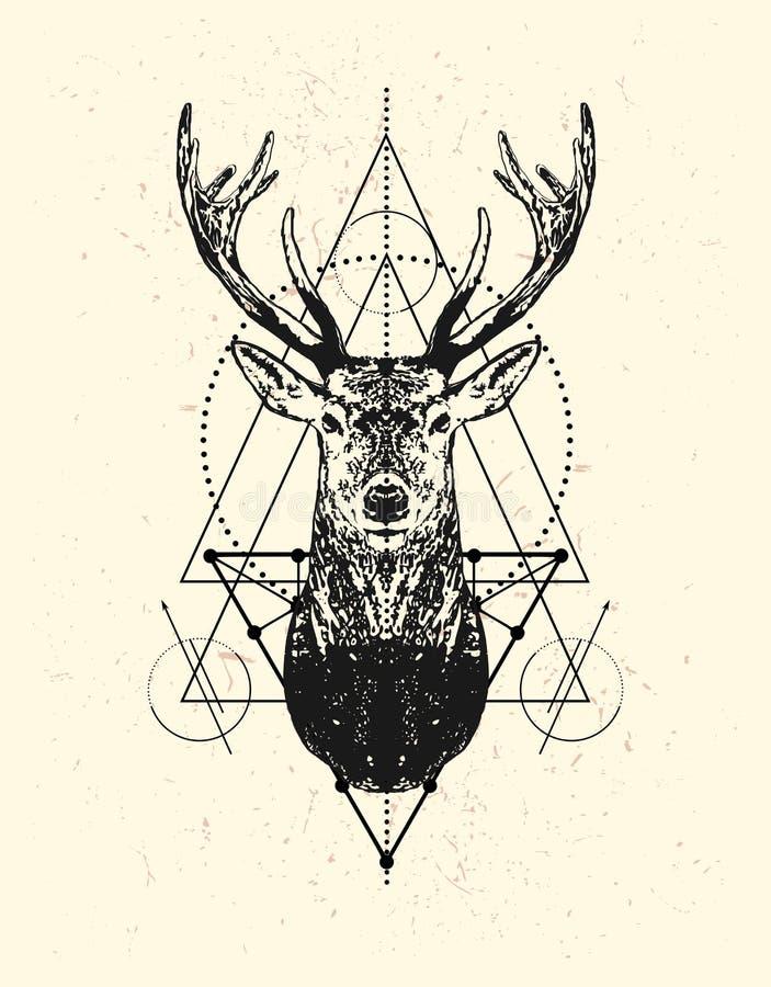 Testa dei cervi con il fondo del triangolo illustrazione vettoriale
