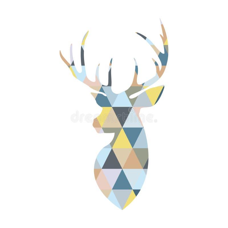 Testa dei cervi costituita dalle forme multicolori triangolari illustrazione vettoriale