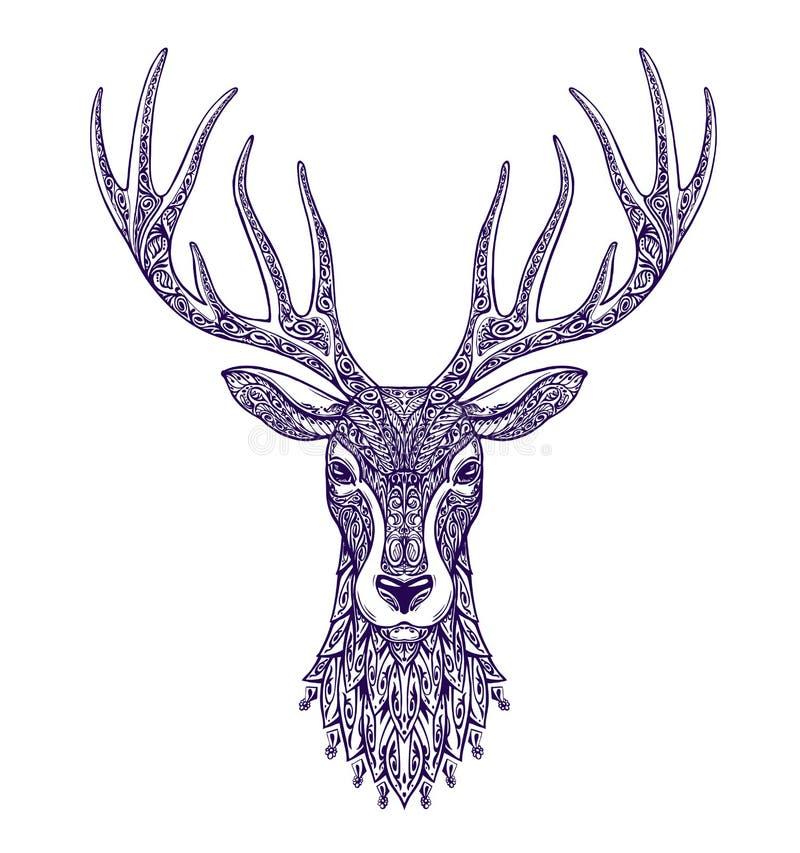 Testa dei cervi isolata su fondo bianco Illustrazione disegnata a mano di vettore illustrazione vettoriale