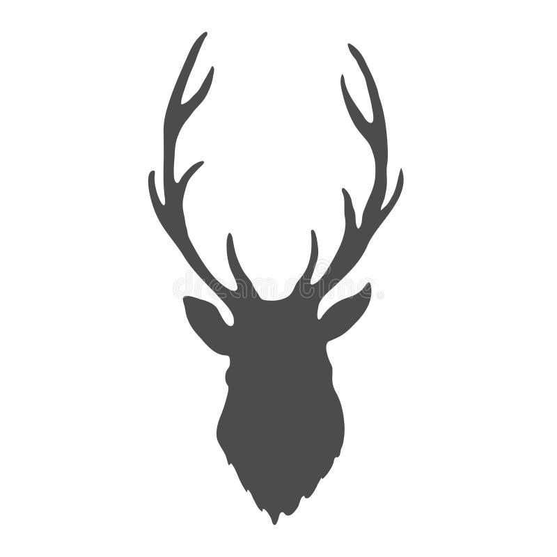 Testa dei cervi isolata su fondo bianco Vettore royalty illustrazione gratis