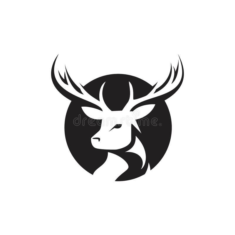Testa dei cervi Modello di logo di vettore, cara Silhouette Logo illustrazione vettoriale