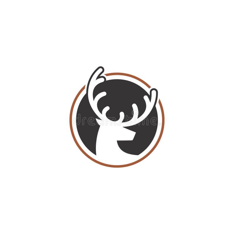 Testa dei cervi Modello di logo di vettore, cara Silhouette Logo illustrazione di stock