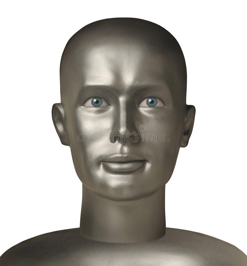 Testa del Android con gli occhi umani contro bianco immagini stock