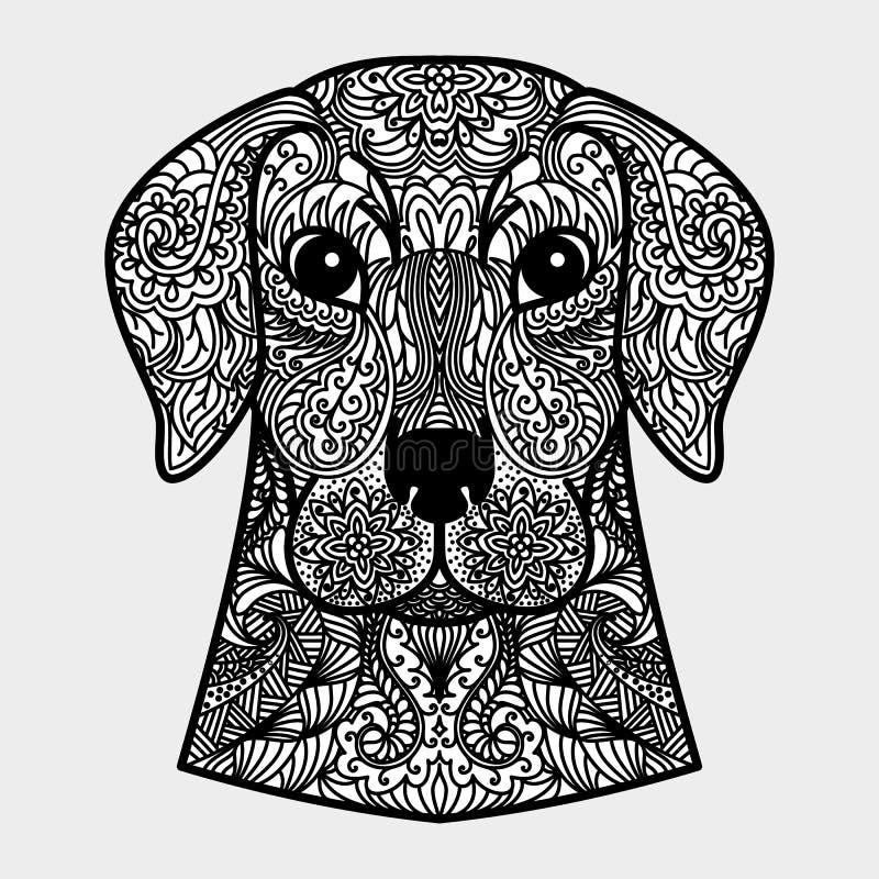 Testa del cane - un simbolo dell'ornamentale del nuovo anno 2018 Concetto in bianco e nero illustrazione vettoriale