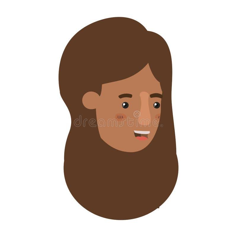 Testa del carattere dell'avatar di afro della donna illustrazione di stock