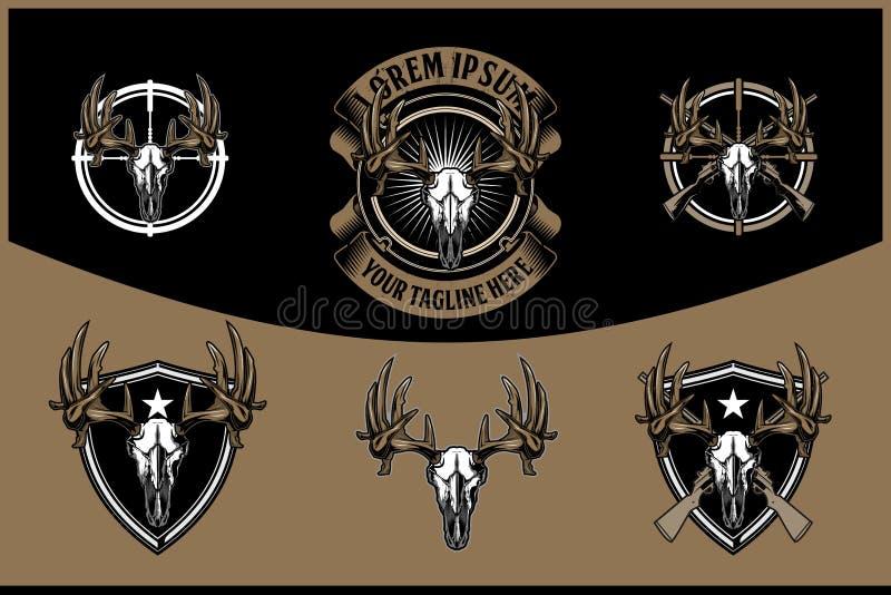 Testa del cranio dei cervi con il retro modello di logo del fucile del distintivo trasversale di vettore per cercare club illustrazione vettoriale