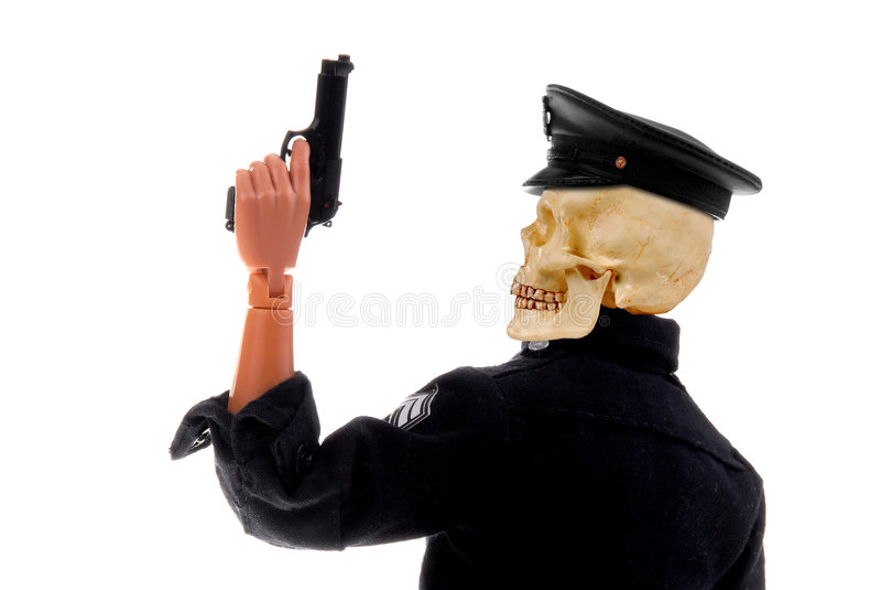 Testa del cranio dell'ufficiale di polizia immagine stock libera da diritti