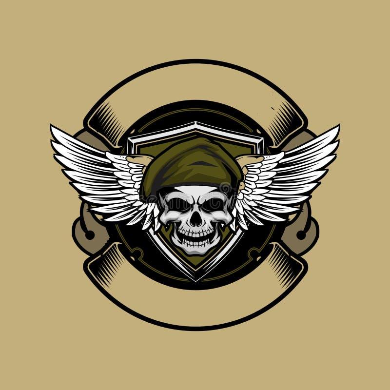 Testa del cranio del soldato con il modello rotondo di logo del nastro di vettore dell'ala e del berretto illustrazione vettoriale