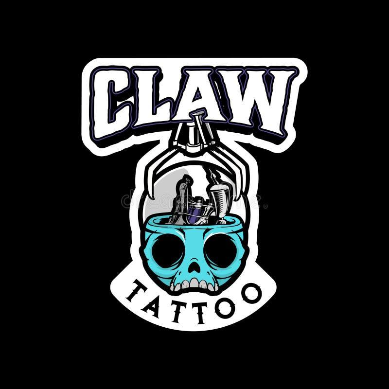 Testa del fumetto del cranio con il vettore del gioco della macchina dell'artiglio e del tatuaggio royalty illustrazione gratis