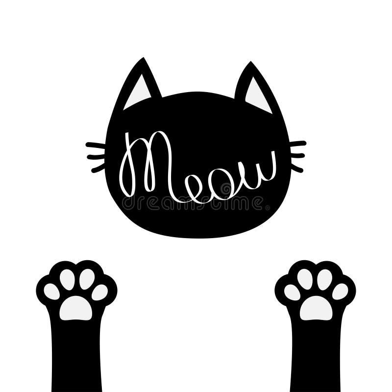 Testa del gatto nero Testo di contorno dell'iscrizione del miagolio Piede della gamba della stampa di due zampe Siluetta sveglia  illustrazione di stock