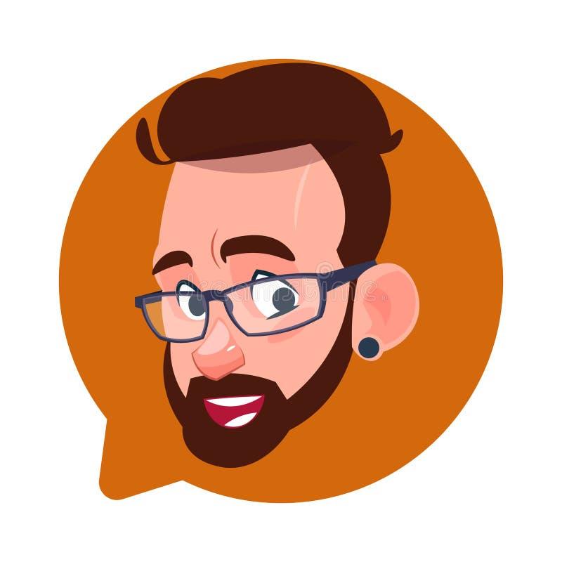 Testa del maschio dell'icona di profilo nella bolla isolata, ritratto caucasico di chiacchierata del personaggio dei cartoni anim royalty illustrazione gratis