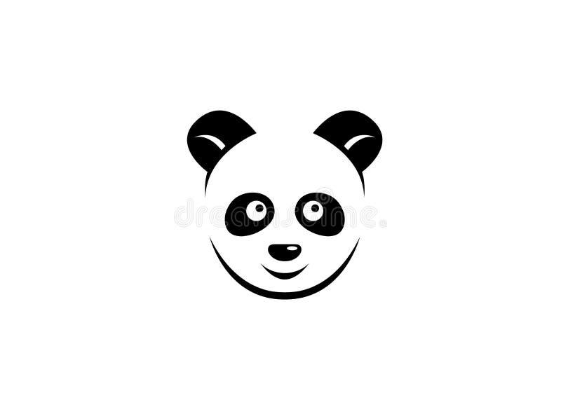 Testa del panda con il fronte sorridente per progettazione di logo illustrazione di stock