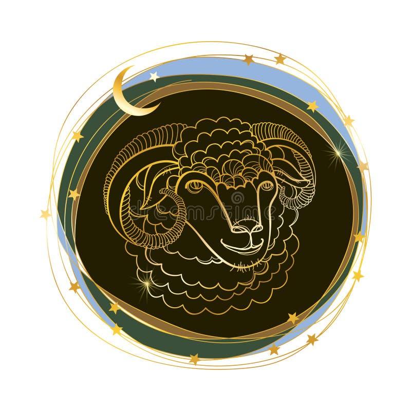 Testa del profilo di vettore delle pecore sacrificali e della mezzaluna in dorato isolate su fondo bianco Simbolo della festa mus illustrazione di stock