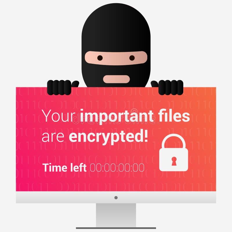 Testa del ransomware Messaggio del encryptor del virus sullo schermo del pc E immagine stock libera da diritti