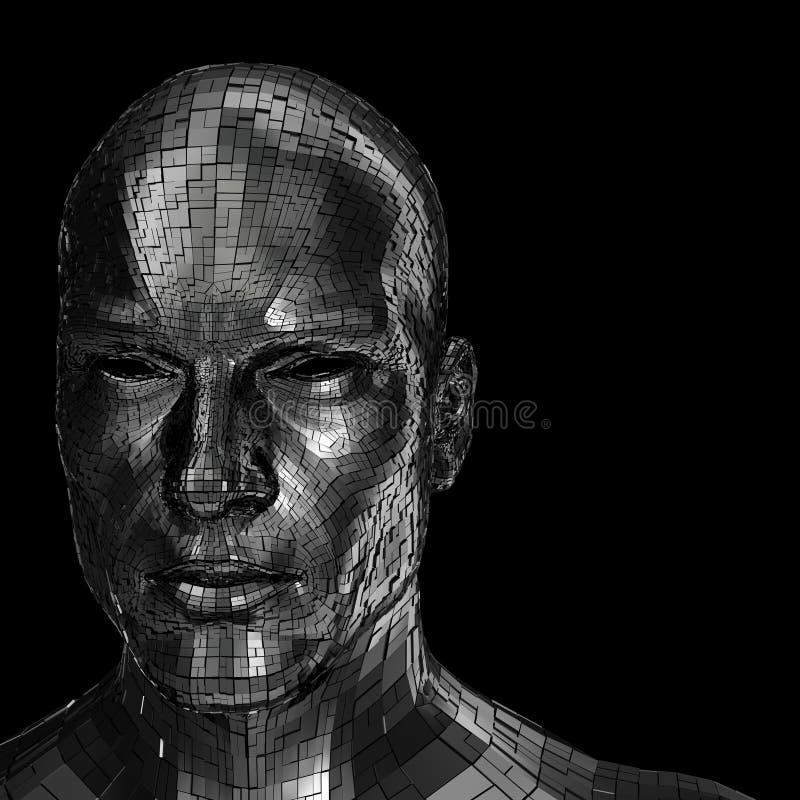 Testa del robot che sembra anteriore attraverso la macchina fotografica royalty illustrazione gratis