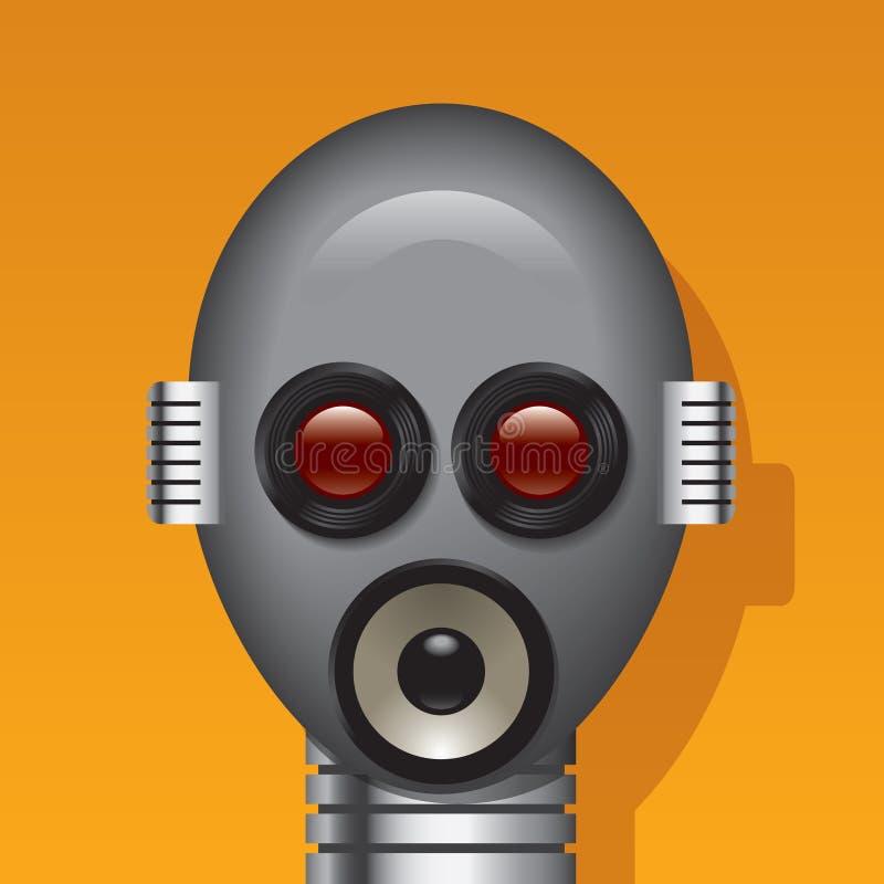 Testa del robot di media illustrazione di stock