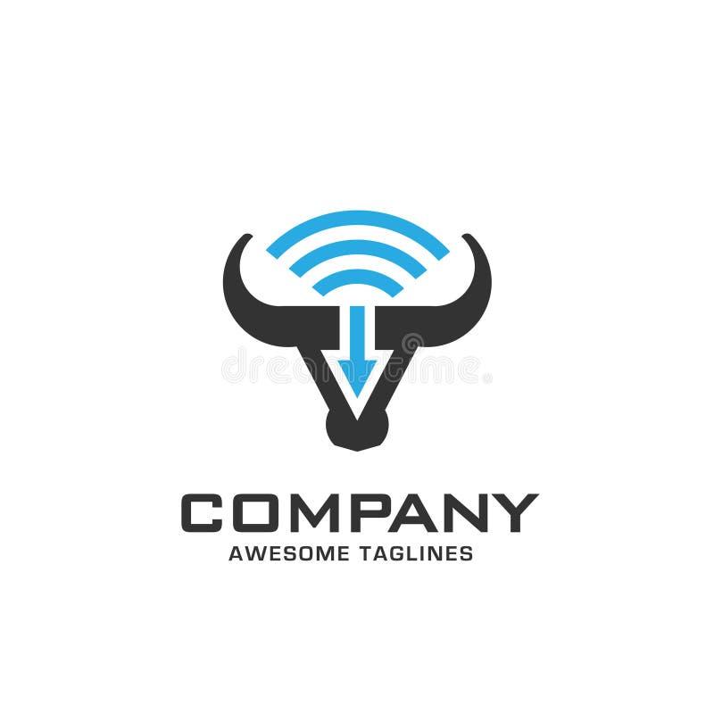 Testa del toro con WiFi ed il logo della freccia illustrazione di stock