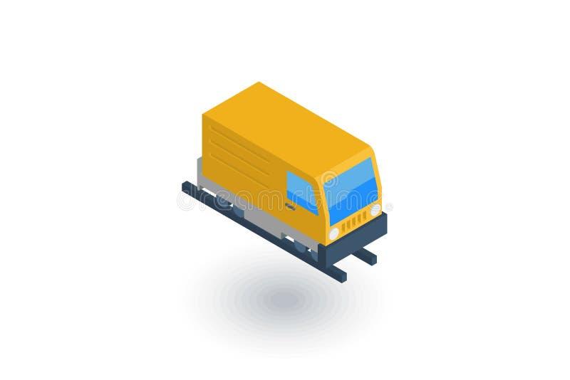 Testa del treno, icona piana isometrica ferroviaria vettore 3d illustrazione di stock