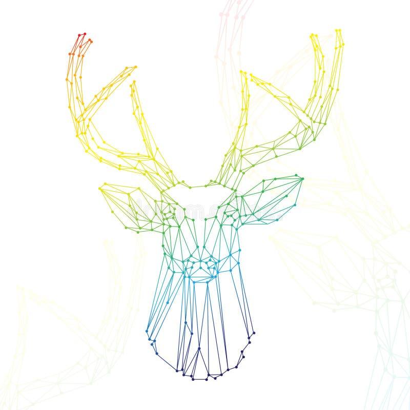 Testa dell'arcobaleno dei cervi su fondo bianco illustrazione vettoriale