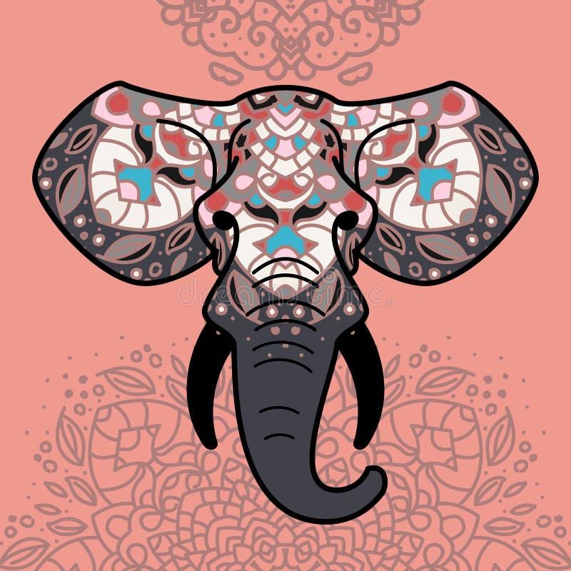 Testa dell'elefante con un ornamento floreale immagine stock libera da diritti