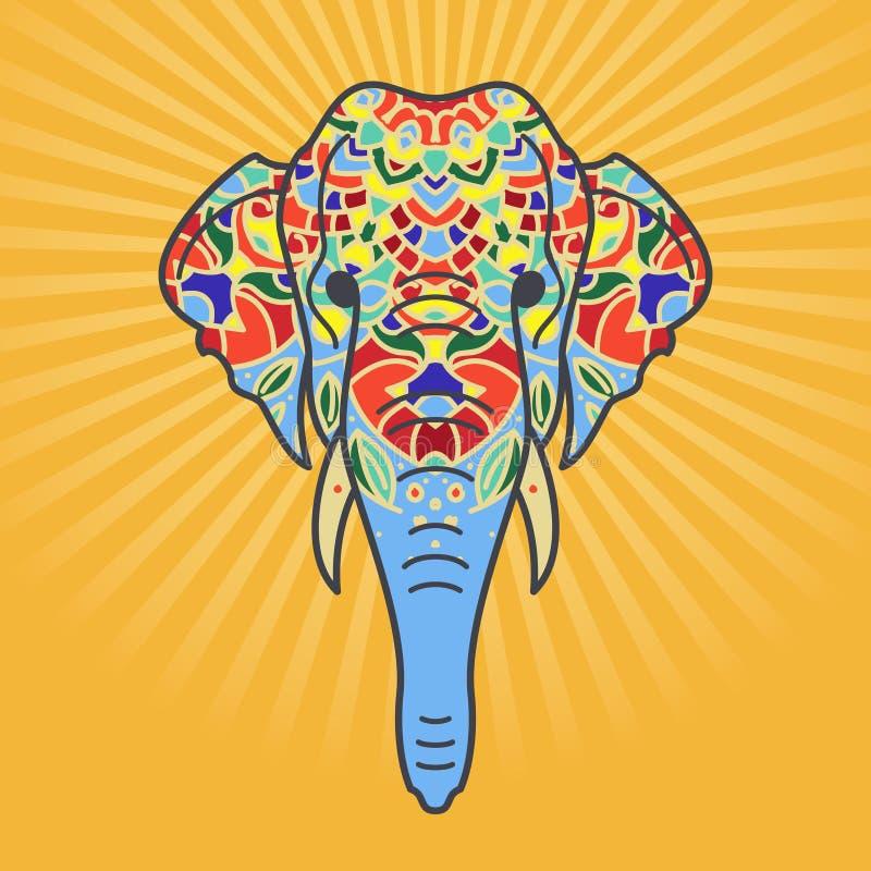 Testa dell'elefante con un ornamento floreale immagine stock