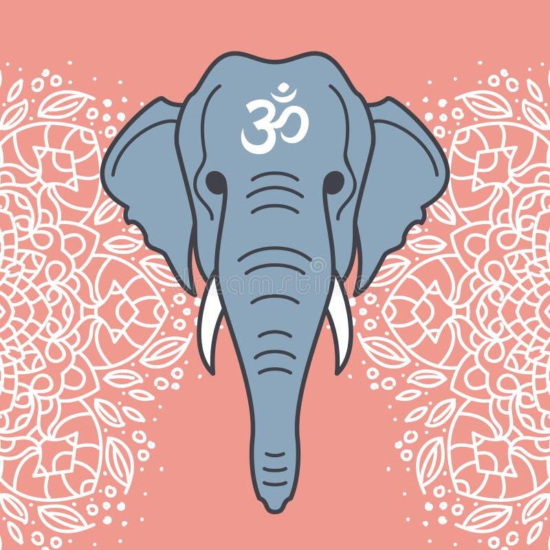 Testa dell'elefante con un ornamento floreale fotografia stock libera da diritti