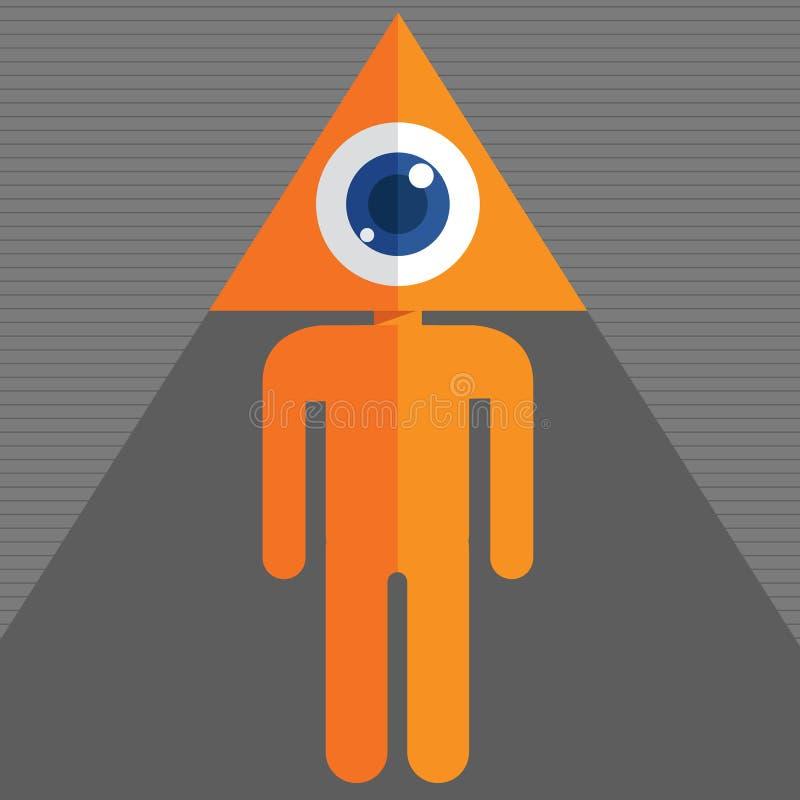 Testa dell'occhio del triangolo illustrazione di stock