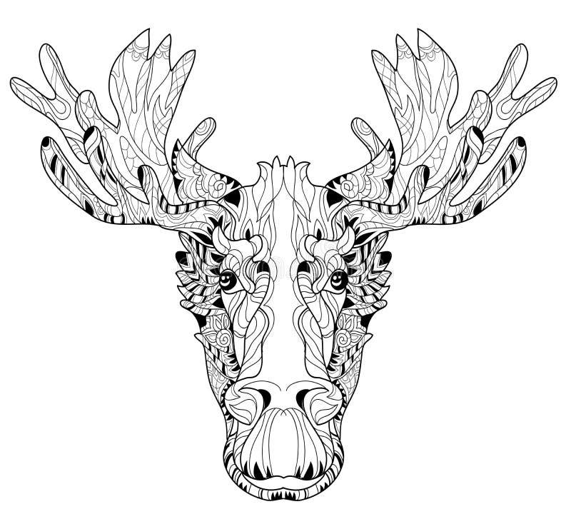 Testa dell'ornamentale dell'illustrazione di vettore stratificata alci illustrazione di stock