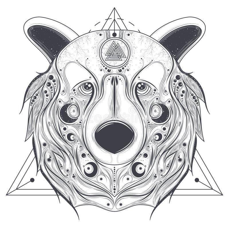 Testa dell'ornamentale dell'orso con la linea vettore del valknut di arte illustrazione vettoriale