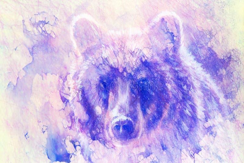 Testa dell'orso bruno vigoroso, pittura a olio su tela e collage del grafico Contatto oculare illustrazione di stock