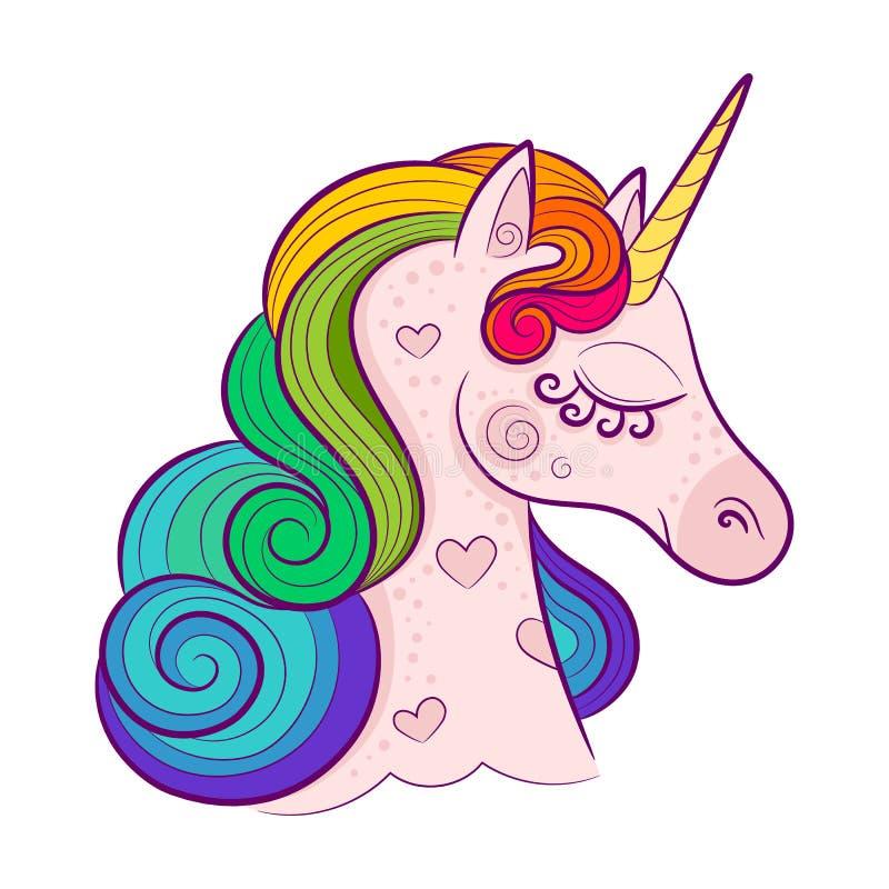 Testa dell'unicorno bianco sveglio con la criniera dell'arcobaleno isolata su fondo bianco illustrazione di stock