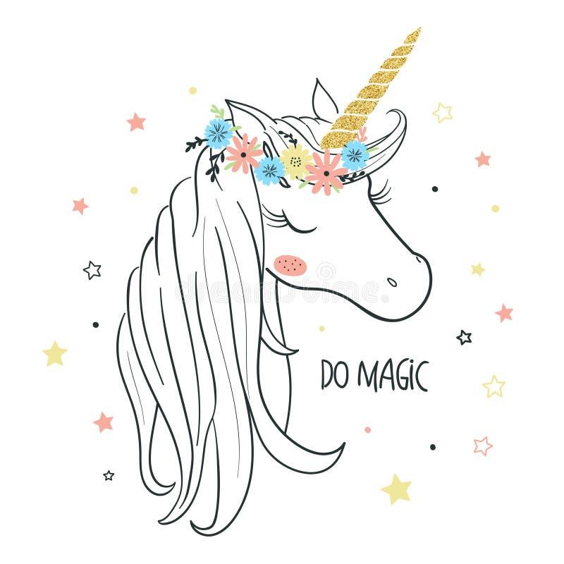 Testa dell'unicorno Illustrazione di vettore per i bambini illustrazione vettoriale