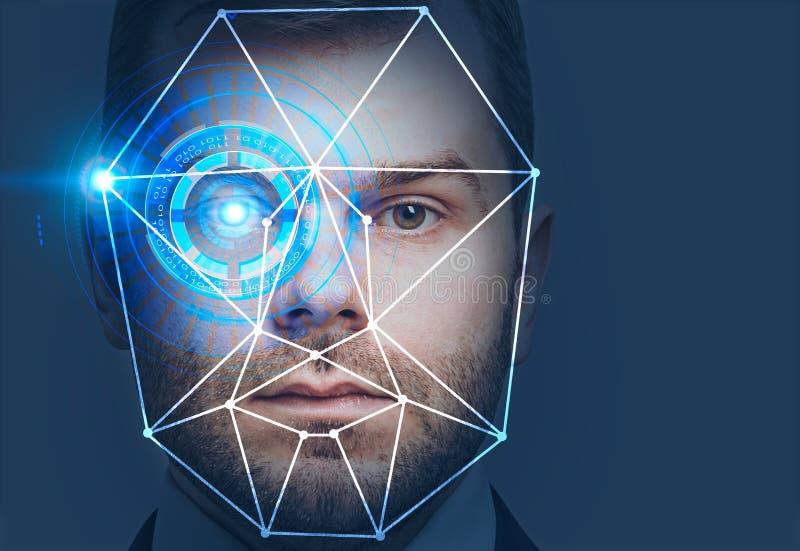 Testa dell'uomo con l'interfaccia di riconoscimento di fronte illustrazione vettoriale