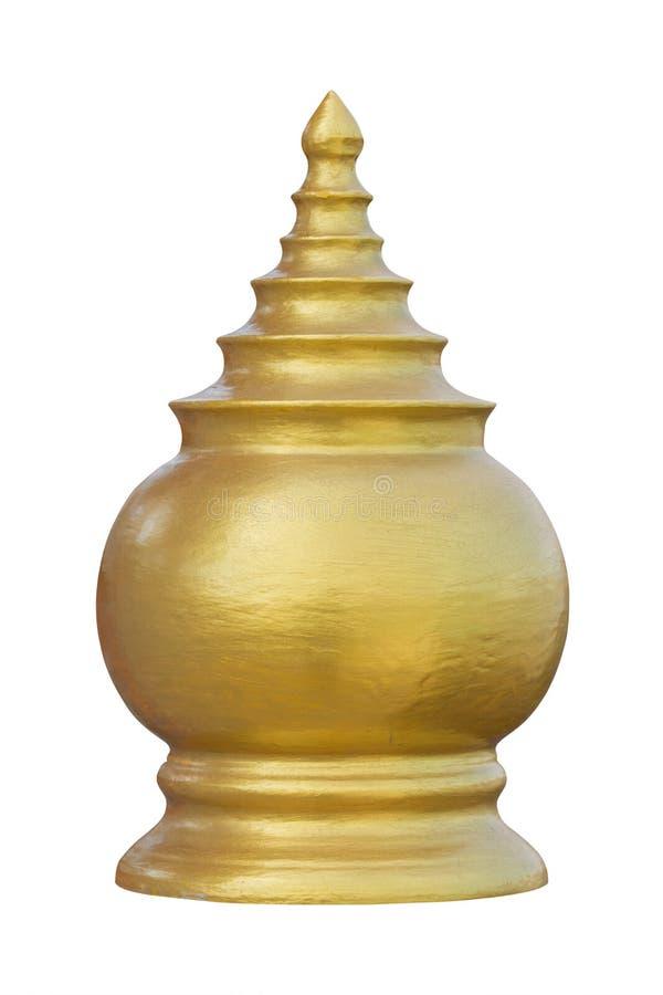 Testa della colonna dell'oro isolata su fondo bianco Percorso di ritaglio immagini stock