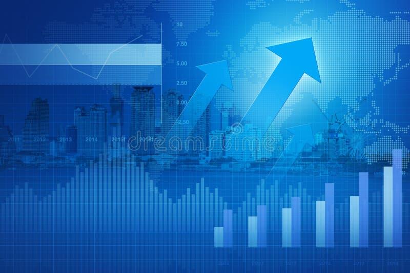 Testa della freccia con il grafico ed i grafici finanziari sulla città; successo concentrato illustrazione di stock