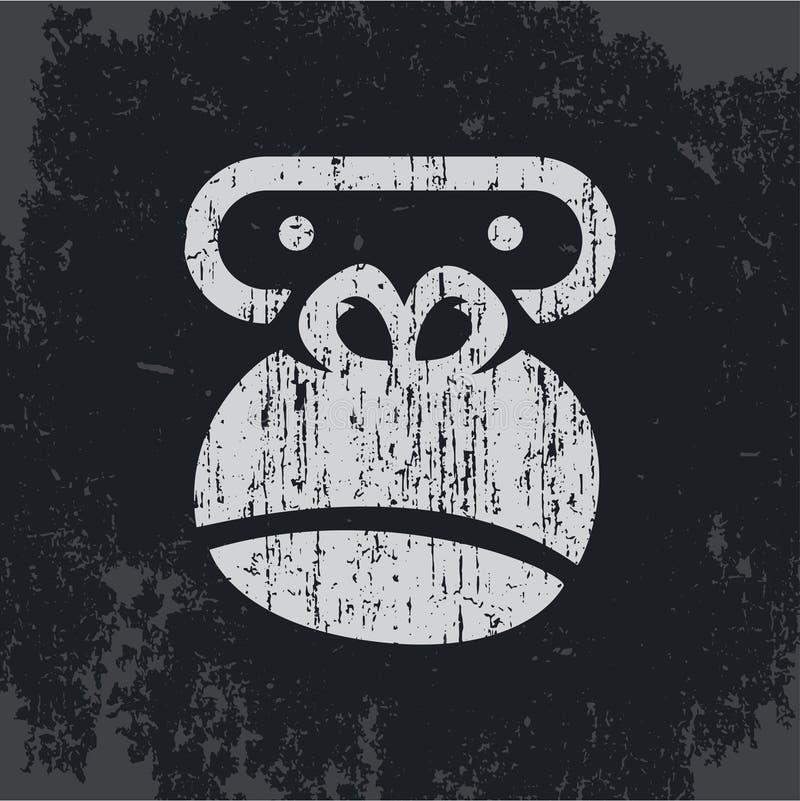 Testa della gorilla, scimmia di logo, guarnizione su una maglietta illustrazione di stock