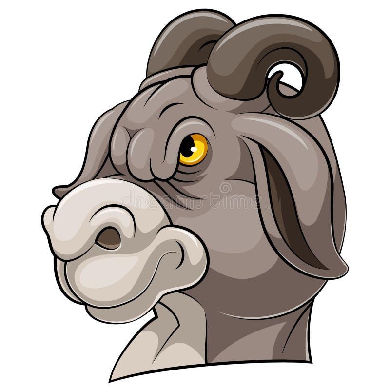 Testa della mascotte di una capra illustrazione vettoriale