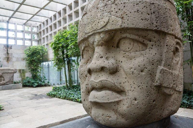 Testa della pietra di Olmec fotografie stock