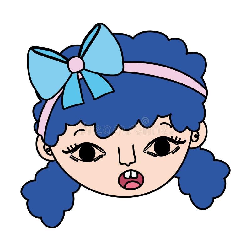 Testa della ragazza del bambino sorpresa colore con l'acconciatura illustrazione di stock