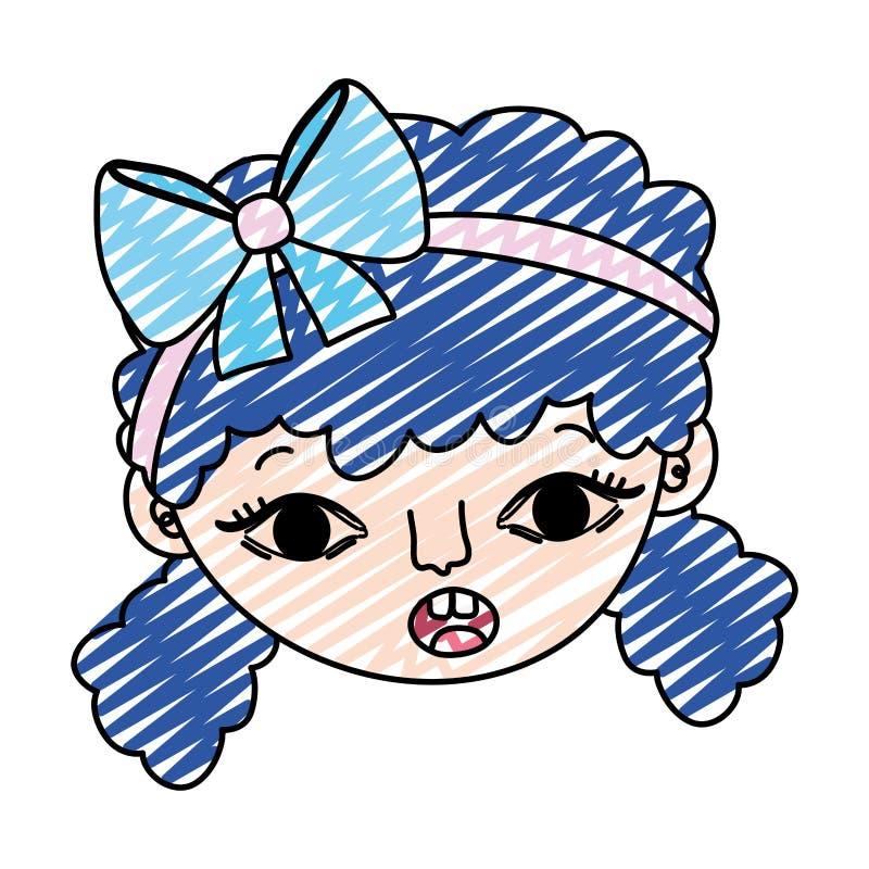 Testa della ragazza del bambino sorpresa scarabocchio con l'acconciatura royalty illustrazione gratis