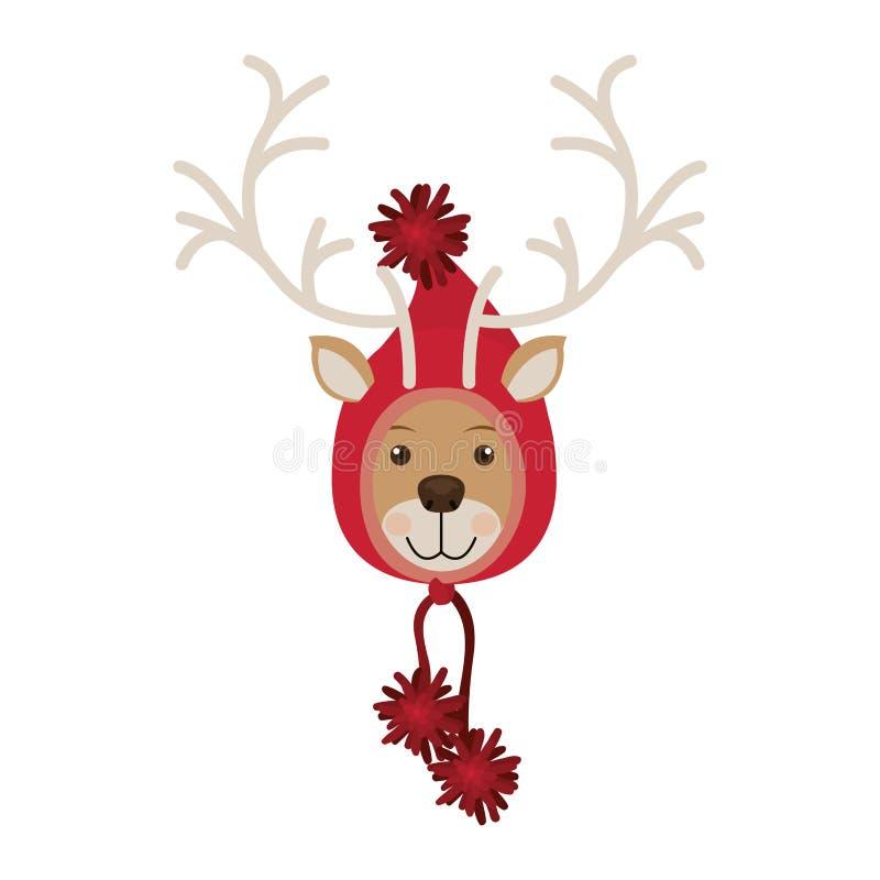 Testa della renna con il cappuccio di lana della forma del cappello di natale illustrazione di stock