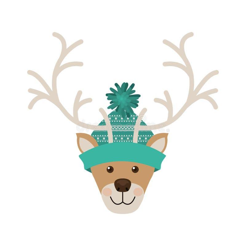 Testa della renna con l'acquamarina di lana del cappello di natale illustrazione vettoriale
