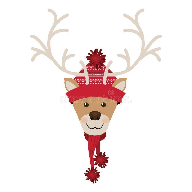 Testa della renna con rosso di lana del cappello di natale illustrazione di stock