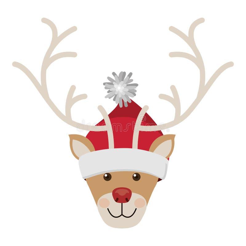 Testa della renna con rosso e bianco di lana del cappello di natale royalty illustrazione gratis
