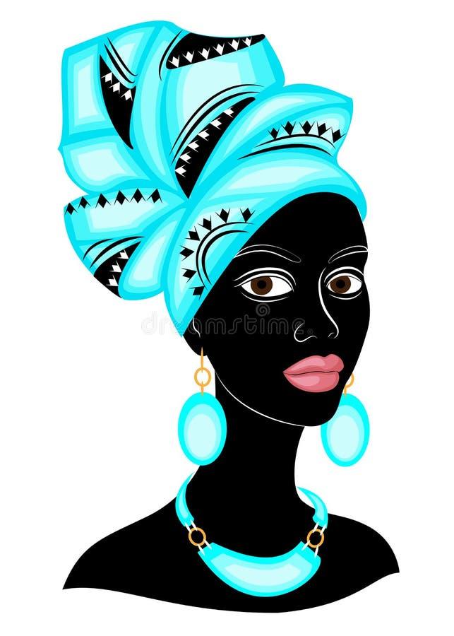 Testa della signora dolce Sulla testa di una ragazza afroamericana c'è una sciarpa blu luminosa, un turbante La donna ? bella e royalty illustrazione gratis