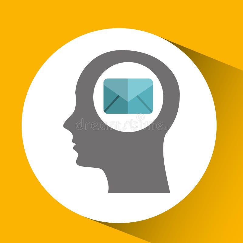 testa della siluetta con l'icona di comunicazione del messaggio di posta elettronica fotografia stock libera da diritti