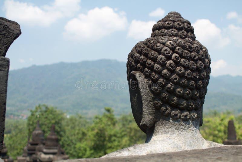 Testa della statua di Buddha in tempio di Borobudur, Java, Indonesia fotografia stock